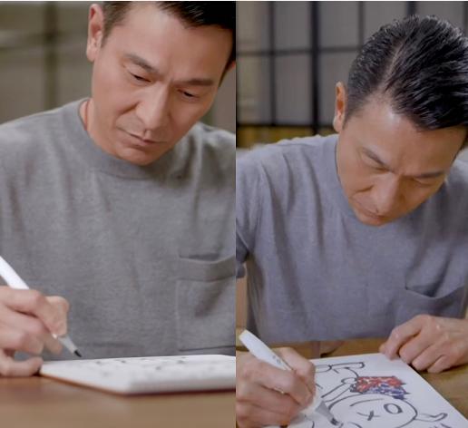 劉德華曬親筆畫為白仔慶生,年近六十不見老,專心繪畫不怕沾顏料